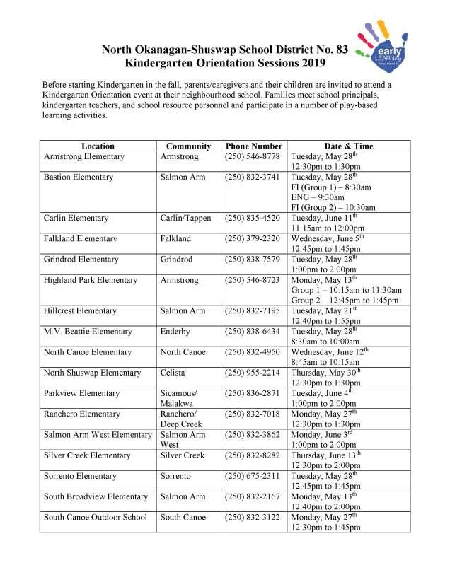 2019 SD83 Kindergarten Orientation Schedule - Final