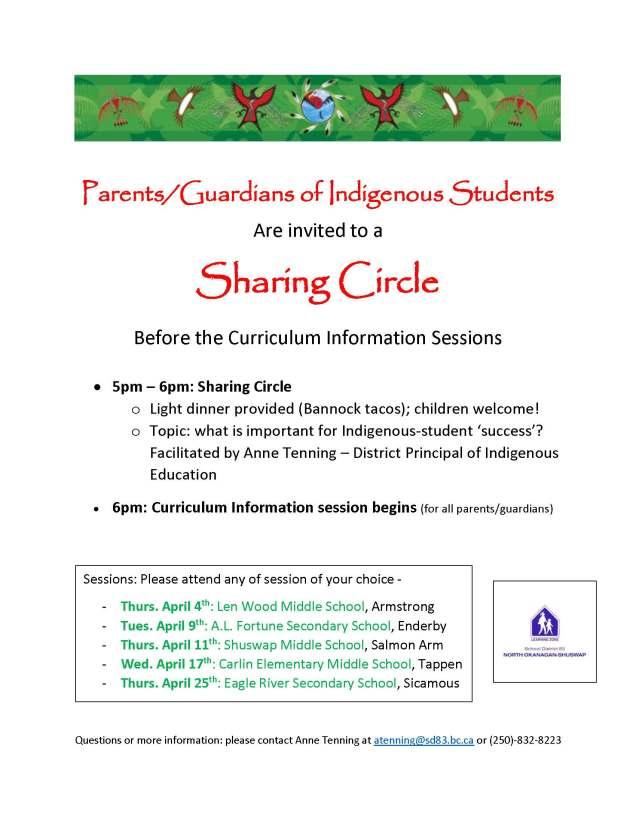 Indigenous Parents Sharing Circle Invite