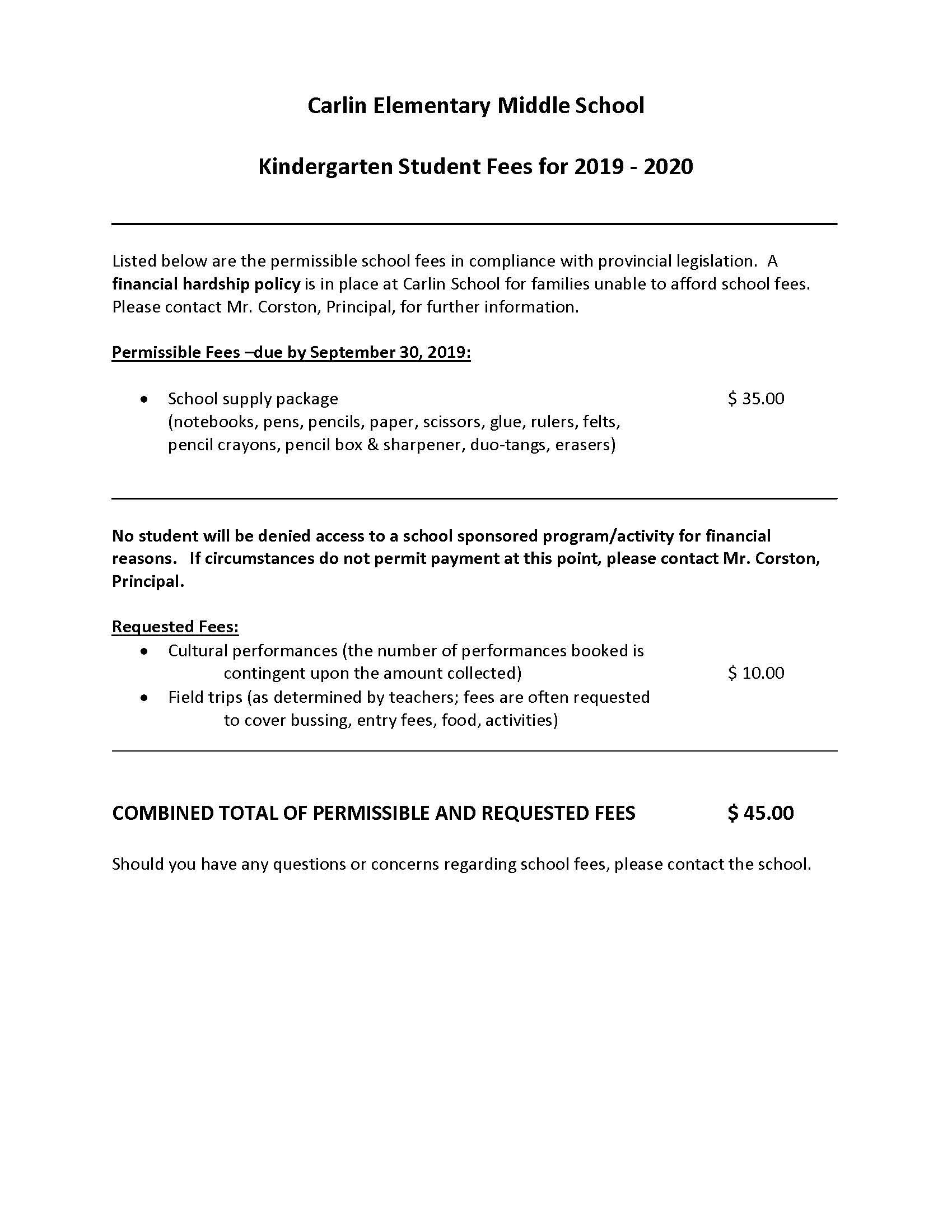 KINDERGARTEN SCHOOL FEES 2019_20